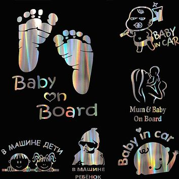 """Colorful Laser Russian Kids Baby On Board Car 3D Sticker """"Baby In Car"""" Car Decals Vinyl Stickers Family Auto Cover Baby Protect"""