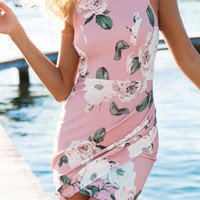 Pink Floral Print Irregular Hem Bodycon Dress