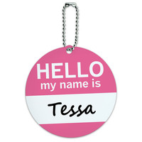 Tessa Hello My Name Is Round ID Card Luggage Tag