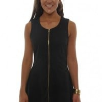 A-Line Black Dress With Front Zipper -
