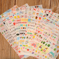 New Lovely 6 Sheet Paper Stickers for Diary Scrapbook Book Wall Decor For Decoration Cartoon Stickers