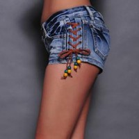 Strap Side Denim Shorts