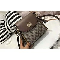 Gucci counter section women exquisitely beautiful but not outdated with any shoulder strap bag F-AGG-CZDL Light coffee