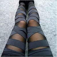 New 2017 Spring Fashion Bandage Women Legging Fitness Feminina Super Elastic Slim Sexy Mesh Lace Leggings