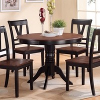 5 pcs Black/Cherry Round Dining Table Set