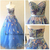 Strapless Prom Dresses, Lace Prom Dresses 2016, Sweetheart Prom Dresses