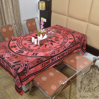 Indian Cotton Table Cloth Radish Color Cycle of Ages Print Table Cover Tapestry Wall Hanging TC39