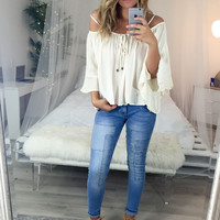 Sonoma City Ivory Bell Sleeve Off The Shoulder Top