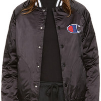 Black Satin Logo Bomber Jacket