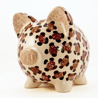 Personalized Piggy Bank - Leopard - Cheetah - with hole or NO hole in bottom