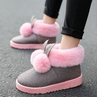 Women boots Rabbit Ears Slip On Winter Platform Warmer Plush Ankle snow Boots 2017 New Women's Fashion Shoes