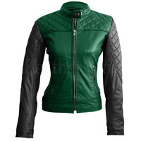 Women Green Quilted Leather Jacket