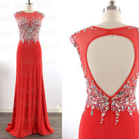 Red Jersey Prom Dresses with Silt, Red Jersey with Crystal Long Prom Gown,  Red Formal Gown, Sexy Red Evening Gown