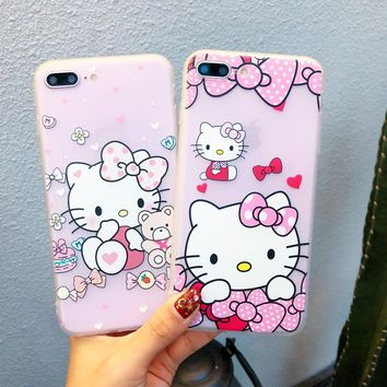 Exhard Hello Kitty Case For iPhone 7 7 Plus 8 8 Plus Cover Cartoon Bear For iPhone 6 6s Plus X Case Silicone Soft Fundas Coque