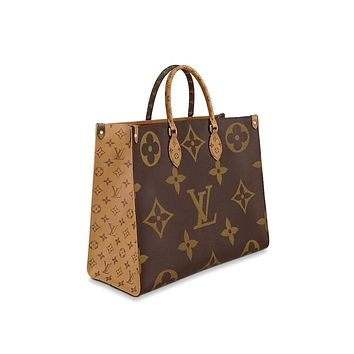 MAGICLOOK ON THE GO Inspired Style Women Handbag Tote Shoulder Extremely Large 16.14 x 13.39 x 7.48 inches Bag Brown Monogram Plus Reverse Universal Color Organizer Onthego Bag made of Canvas