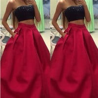 Two Piece Strapless Red Prom Dresses