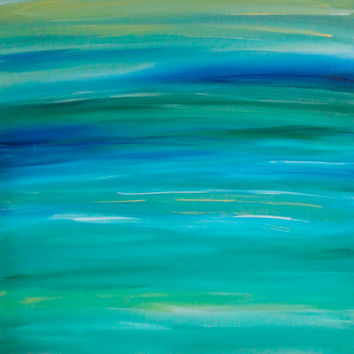 Large Abstract 36x48 Painting Contemporary Art Blue Turquoise Green Huge Artwork