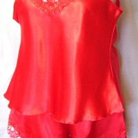 Red Satin, Sexy Sleepwear, Night Gown, 2 Piece Set, Camisole Top, Tap Pants, Size XL Extra Large, Christmas Ready