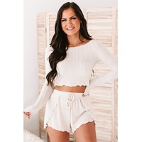 Winding Down Ribbed Knit Long Sleeve Top (Ivory)