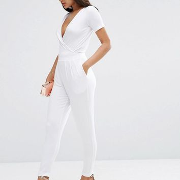 ASOS   ASOS Wrap Front Jersey Jumpsuit With Short Sleeve at ASOS