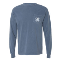 COMFORT COLORS STOOL/STARS LOGO LONG SLEEVE POCKET TEE (BLUE)