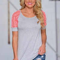 Not Like The Rest Top - Grey/Coral