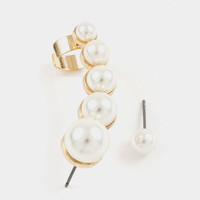Pearl Stairs Post Ear Cuff Earring