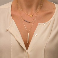 Ultimate Layering Necklace / Skinny Vertical Bar Necklace / Minimal Gold Bar Pendant / Silver, Rose Gold or 14K Gold Fill Chain LN109v.hm