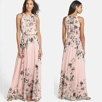 US Women Boho Long Maxi Dress Evening Party Summer Beach Casual Floral Sundress