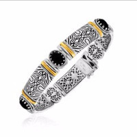 Black Onyx Station Patterned Bangle in 18K Yellow Gold and Sterling Silver