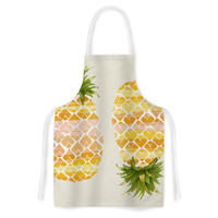 "Judith Loske ""Happy Pineapples "" Yellow Gold Artistic Apron"