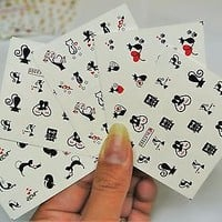 5 Sheets Black Cat with Heart Nail Decal