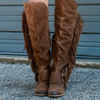 Naughty Monkey Fringe Thrills Genuine Suede Tan Over The Knee Equestrian Boot