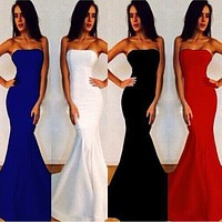 2017 New Sexy Women Strapless Wrapped Long Maxi Dress Formal Wedding Evening Party Gown Bridesmade Prom Mermaid Trendy White Dresses