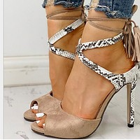 Hot style is selling super high heel cross-strap sandals shoes