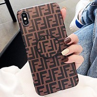 Fendi Fashion New More Letter Print Women Men Protective Cover Phone Case Coffee