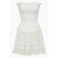 Vallarta Guipure Lace Strapless Mini Dress - White