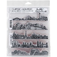 Stampers Anonymous Tim Holtz Cityscapes Cling Rubber Stamp Set