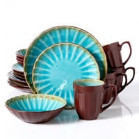 Gibson Sillano 16pc Dinnerware Set-Turquiose Crackle Reative Scallop