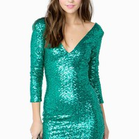 Luxe Deep V Sequined Bodycon Dress