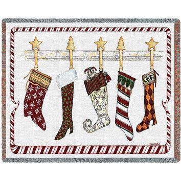 THE STOCKINGS WERE HUNG CHRISTMAS  AFGHAN THROW BLANKET