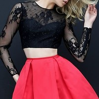 Fit and Flare Homecoming Dress with Sleeves
