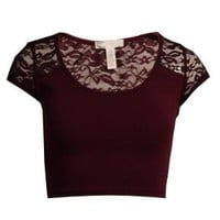MonsterCloset Women's Crop Top w/ Shoulder and Back Lace Design (Large, Maroon)