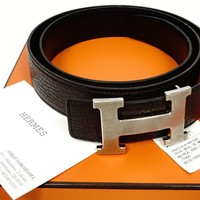 Hermes Black X Brown Leather H Cuir Seul 90 Palladium Men Women Buckle Box Belt