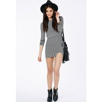 Missguided - Kimarie Striped Mini Dress With Double Layer