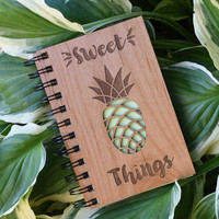 Pineapple Wooden Notebook - Personalized Spiral Journal - Pineapple Stationery