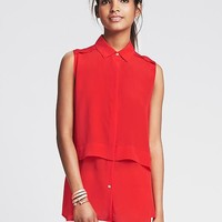 Banana Republic Womens Silk Layered Sleeveless Blouse