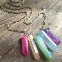 Rainbow Aura Crystal Necklace Raw Crystal Healing Crystals and Stones Spiritual Healing Bohemian Necklace Aura Quartz Crystal Necklace