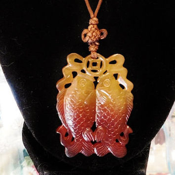 Chinese Twin Koi Golden Carp Double Fish Kissing Feng Shui Carnelian Agate Pendant Hanging Symbol Asian Hand Carved Prosperity Love Harmony