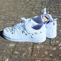 LV Louis Vuitton x NIKE Air force 1 AF1 low-top printed letters sneakers Shoes